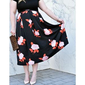 WhoWhatWear | Plus Size Birdcage Midi Skirt SZ 14